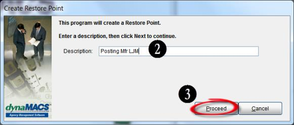 Create Restore Point - Proceed