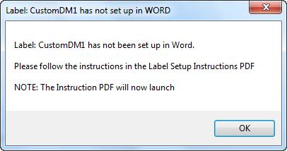 Error Msg - CustomDM1 Not Set Up