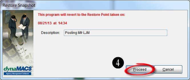 Restore Snapshot - Proceed