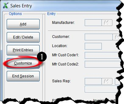 Sales Entry Screen 1