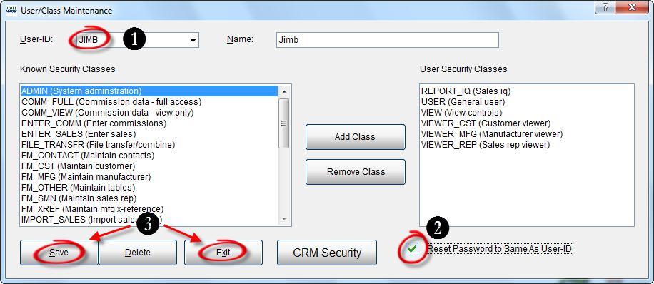 User Class Maint 3