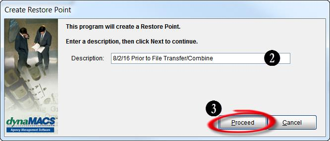 Create Restore Point Screen