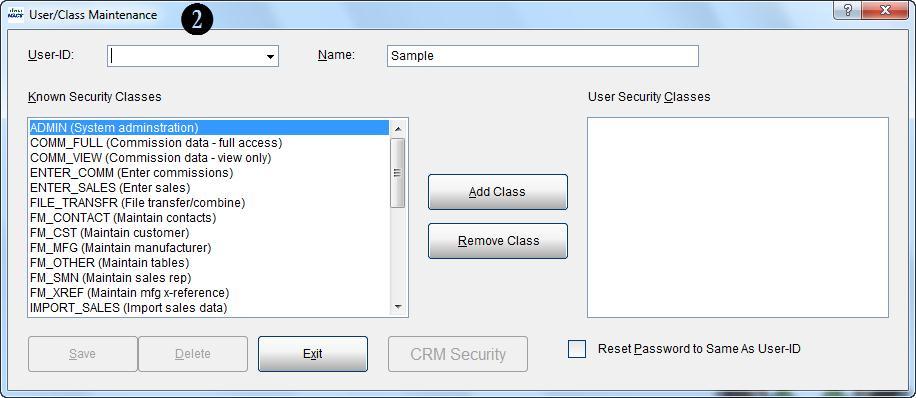 User Class Maint